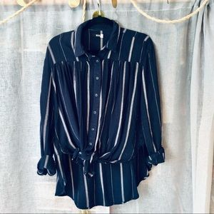 Navy Blue Striped Tie Loose Button Up Blouse Top